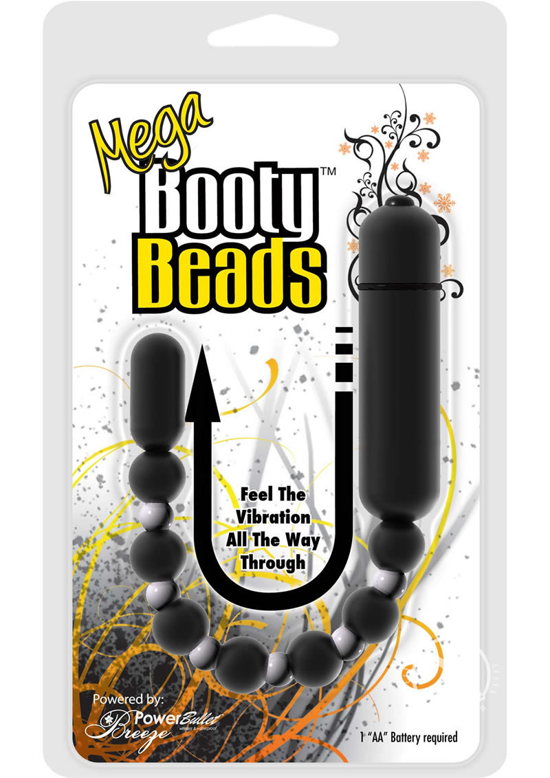 Mega Booty Beads Anal Toy Waterproof Vibrating 12 Inch Black